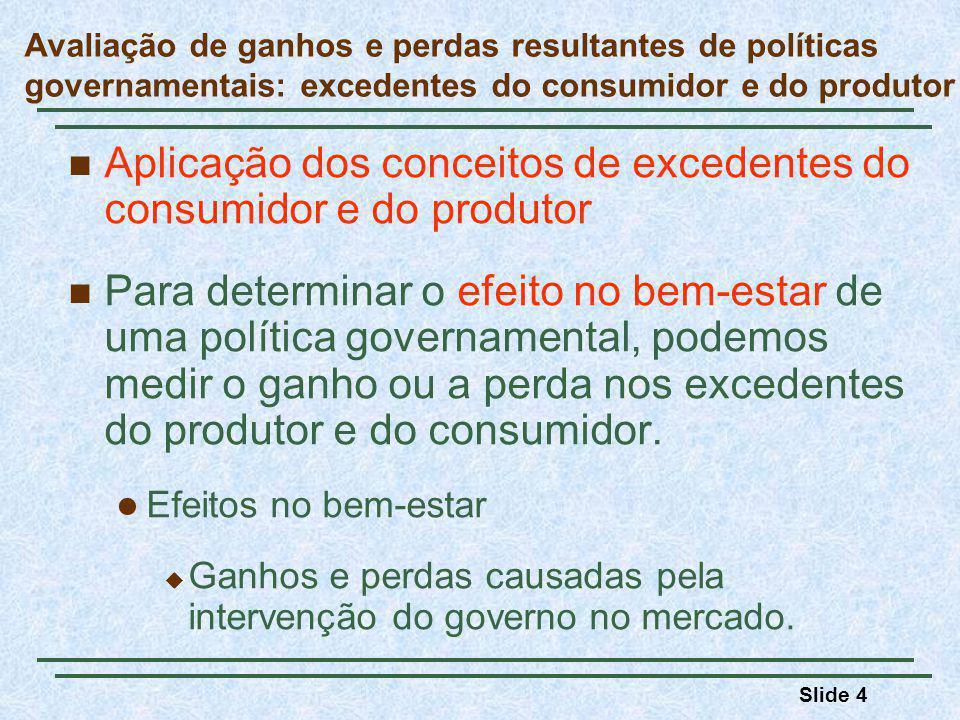 Slide 4 Aplicação dos conceitos de excedentes do consumidor e do produtor Para determinar o efeito no bem-estar de uma política governamental, podemos medir o ganho ou a perda nos excedentes do produtor e do consumidor.