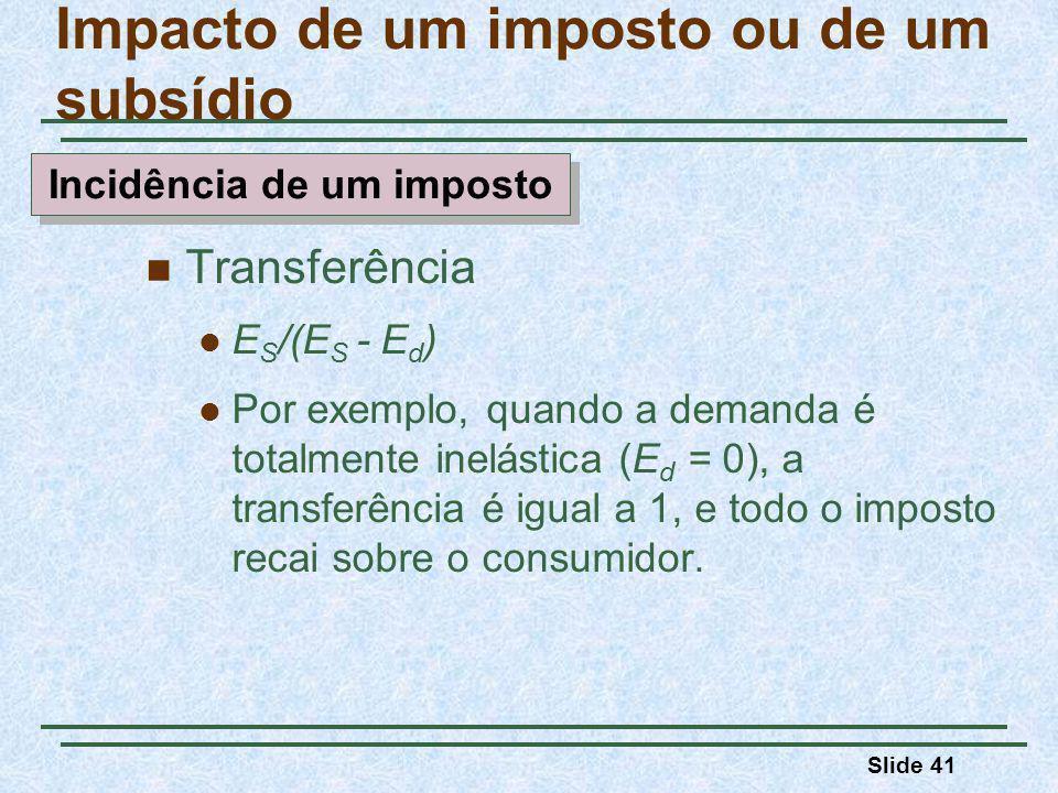 Slide 41 Transferência E S /(E S - E d ) Por exemplo, quando a demanda é totalmente inelástica (E d = 0), a transferência é igual a 1, e todo o imposto recai sobre o consumidor.