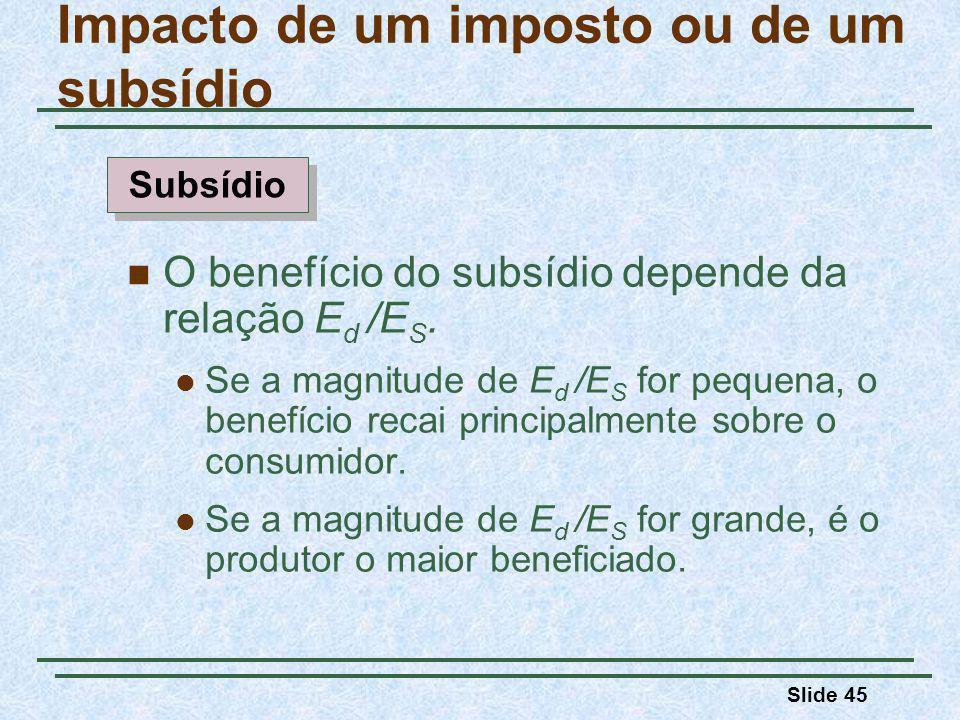 Slide 45 Impacto de um imposto ou de um subsídio O benefício do subsídio depende da relação E d /E S.