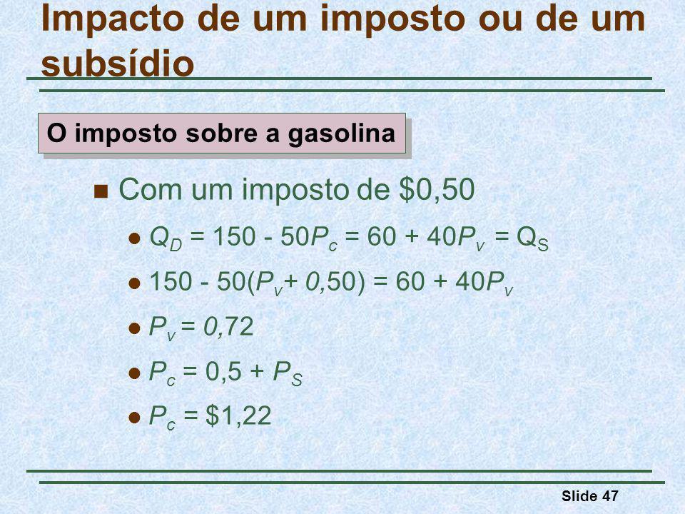 Slide 47 Impacto de um imposto ou de um subsídio Com um imposto de $0,50 Q D = 150 - 50P c = 60 + 40P v = Q S 150 - 50(P v + 0,50) = 60 + 40P v P v = 0,72 P c = 0,5 + P S P c = $1,22 O imposto sobre a gasolina
