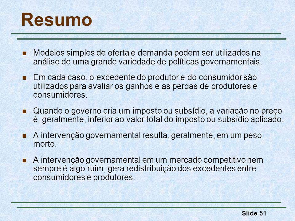 Slide 51 Resumo Modelos simples de oferta e demanda podem ser utilizados na análise de uma grande variedade de políticas governamentais.