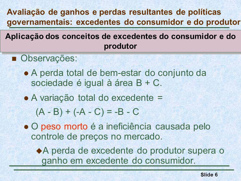 Slide 6 Observações: A perda total de bem-estar do conjunto da sociedade é igual à área B + C.