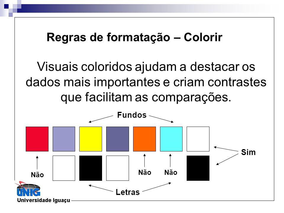 Regras de formatação – Colorir Visuais coloridos ajudam a destacar os dados mais importantes e criam contrastes que facilitam as comparações. Não Sim
