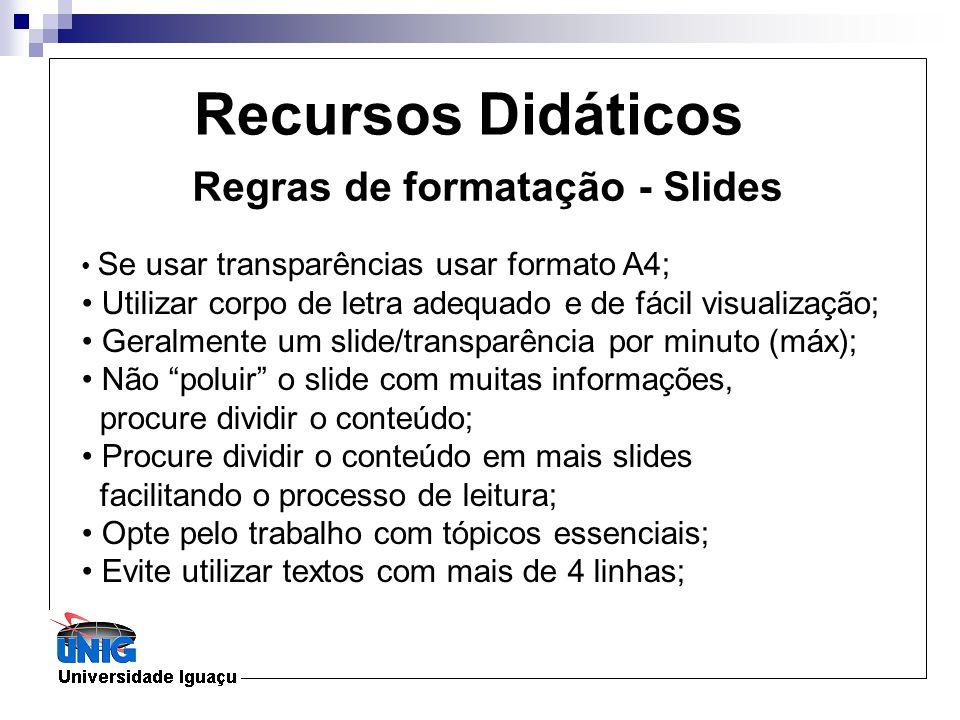 Recursos Didáticos Regras de formatação - Slides Se usar transparências usar formato A4; Utilizar corpo de letra adequado e de fácil visualização; Ger