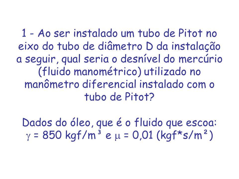 1 - Ao ser instalado um tubo de Pitot no eixo do tubo de diâmetro D da instalação a seguir, qual seria o desnível do mercúrio (fluido manométrico) uti
