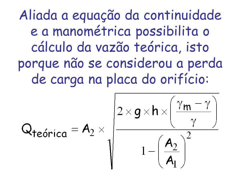 Aliada a equação da continuidade e a manométrica possibilita o cálculo da vazão teórica, isto porque não se considerou a perda de carga na placa do or