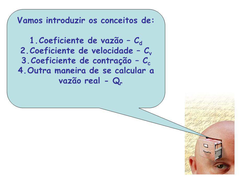 Vamos introduzir os conceitos de: 1.Coeficiente de vazão – C d 2.Coeficiente de velocidade – C v 3.Coeficiente de contração – C c 4.Outra maneira de s