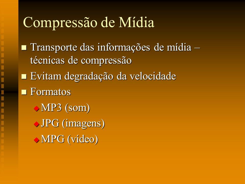 Compressão de Mídia Transporte das informações de mídia – técnicas de compressão Transporte das informações de mídia – técnicas de compressão Evitam d