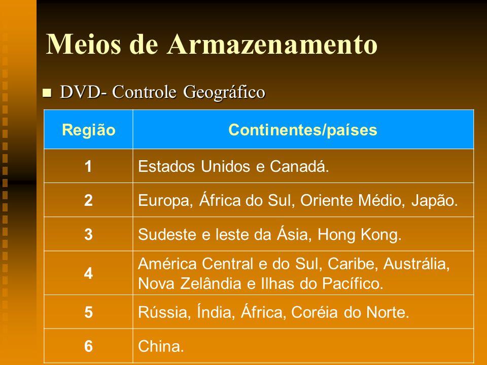 Meios de Armazenamento DVD- Controle Geográfico DVD- Controle Geográfico RegiãoContinentes/países 1Estados Unidos e Canadá. 2Europa, África do Sul, Or