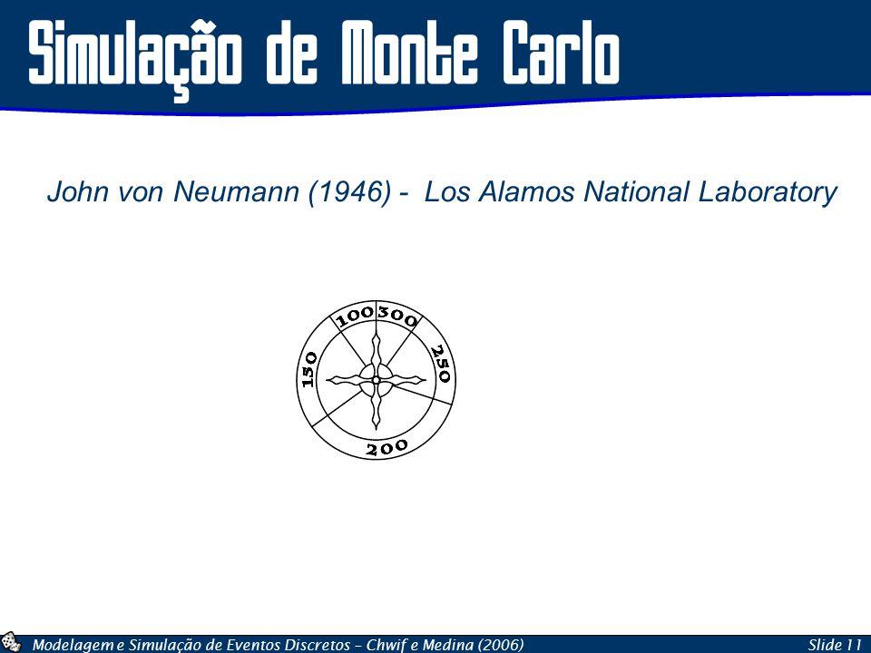 Modelagem e Simulação de Eventos Discretos – Chwif e Medina (2006)Slide 11 Simulação de Monte Carlo John von Neumann (1946) - Los Alamos National Labo