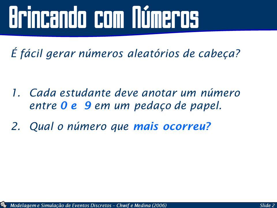 Modelagem e Simulação de Eventos Discretos – Chwif e Medina (2006)Slide 2 Brincando com Números 1.Cada estudante deve anotar um número entre 0 e 9 em