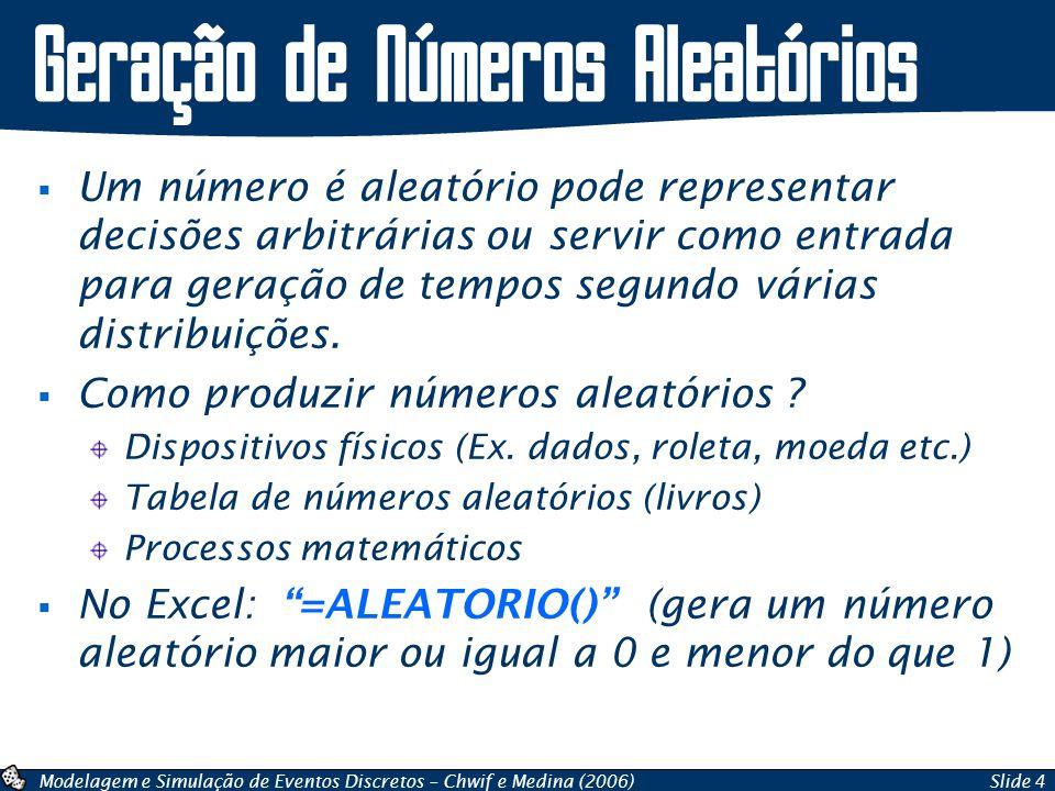 Modelagem e Simulação de Eventos Discretos – Chwif e Medina (2006)Slide 4 Geração de Números Aleatórios Um número é aleatório pode representar decisõe