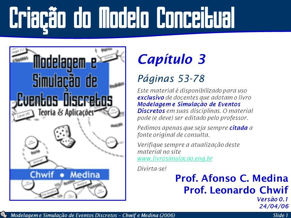 Modelagem e Simulação de Eventos Discretos – Chwif e Medina (2006)Slide 2 O Processo de Simulação Problema do Mundo Real Modelo Abstrato Modelo Conceitual Modelo Computacional Modelo Operacional Resultados Experimentais Conclusões