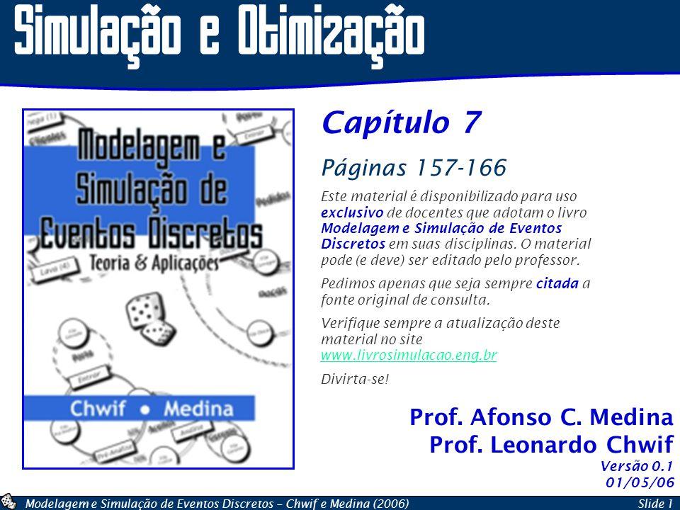 Modelagem e Simulação de Eventos Discretos – Chwif e Medina (2006)Slide 1 Prof. Afonso C. Medina Prof. Leonardo Chwif Simulação e Otimização Capítulo