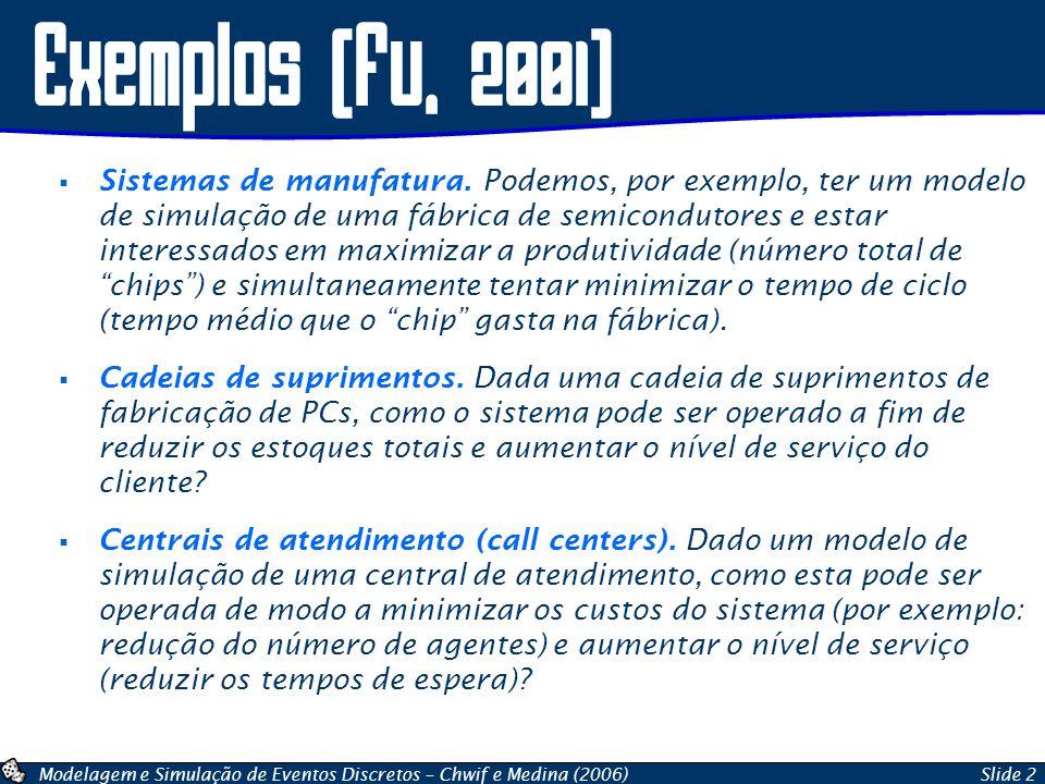 Modelagem e Simulação de Eventos Discretos – Chwif e Medina (2006)Slide 2 Exemplos (fu, 2001) Sistemas de manufatura. Podemos, por exemplo, ter um mod
