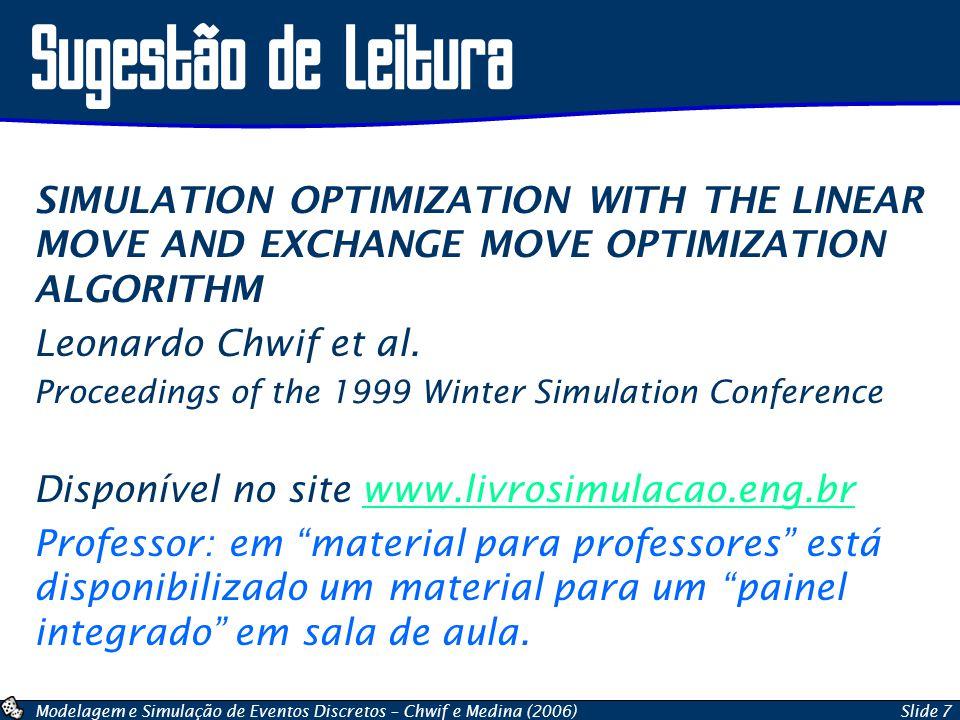 Modelagem e Simulação de Eventos Discretos – Chwif e Medina (2006)Slide 7 Sugestão de Leitura SIMULATION OPTIMIZATION WITH THE LINEAR MOVE AND EXCHANG