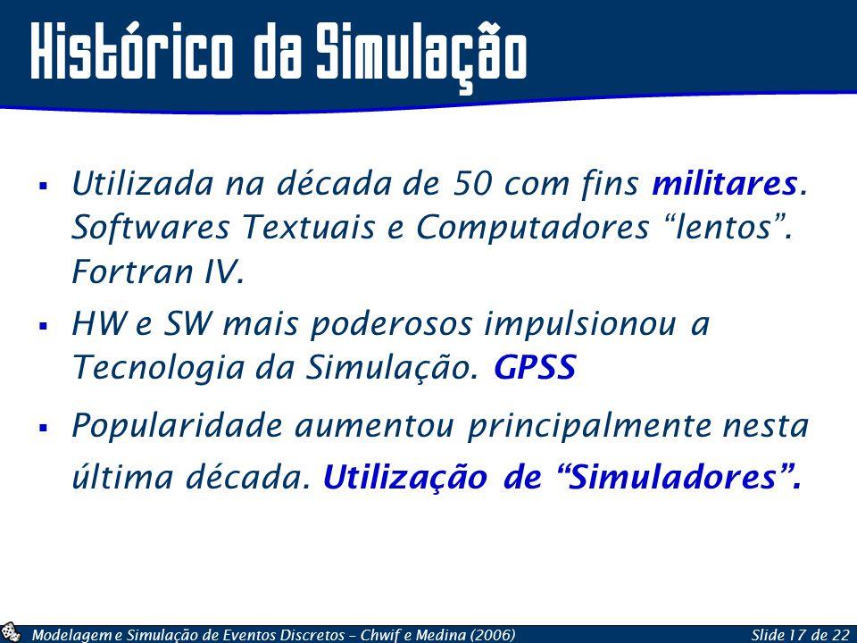 Modelagem e Simulação de Eventos Discretos – Chwif e Medina (2006)Slide 17 de 22 Utilizada na década de 50 com fins militares. Softwares Textuais e Co