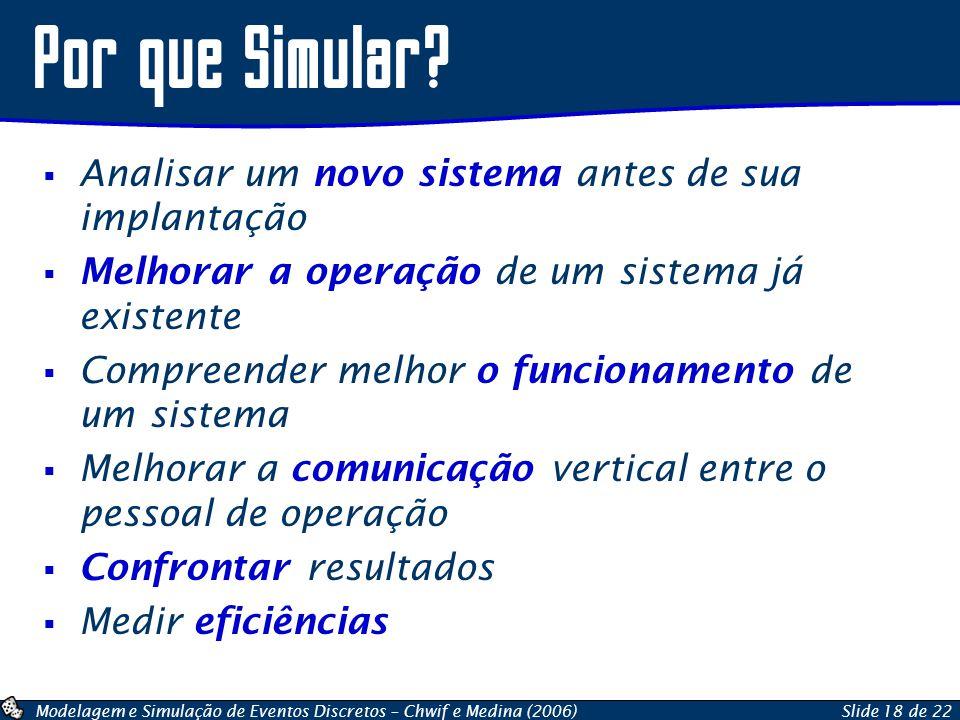 Modelagem e Simulação de Eventos Discretos – Chwif e Medina (2006)Slide 18 de 22 Analisar um novo sistema antes de sua implantação Melhorar a operação