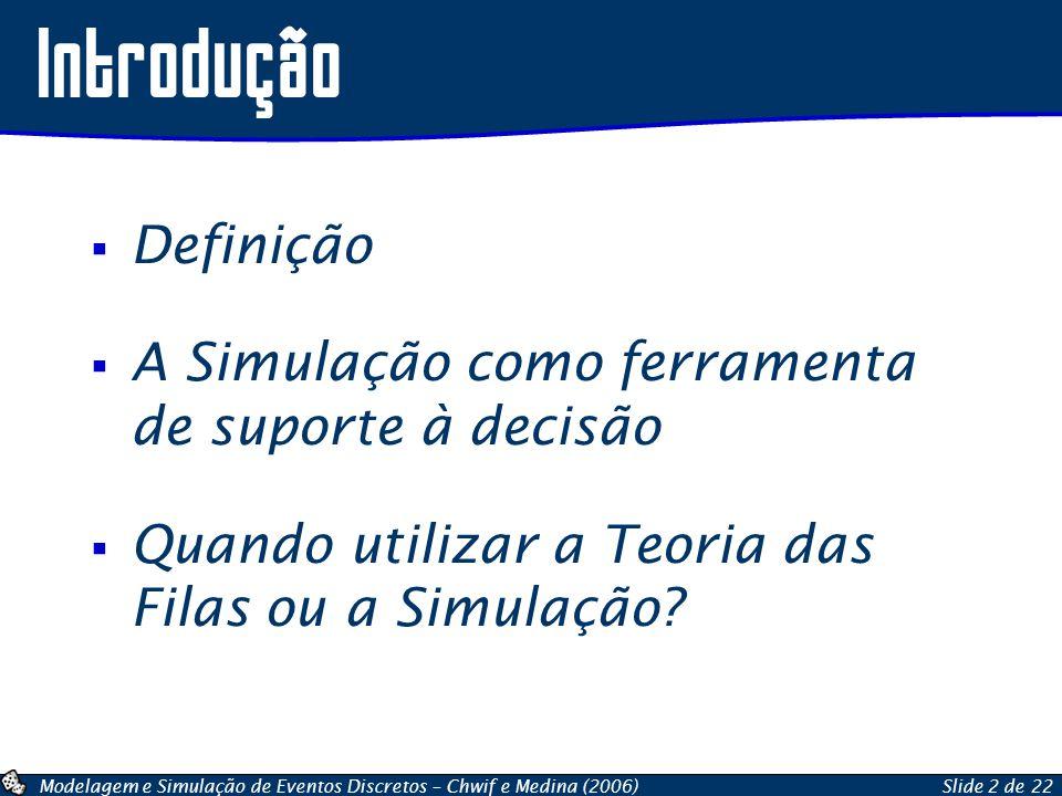 Modelagem e Simulação de Eventos Discretos – Chwif e Medina (2006)Slide 2 de 22 Definição A Simulação como ferramenta de suporte à decisão Quando util