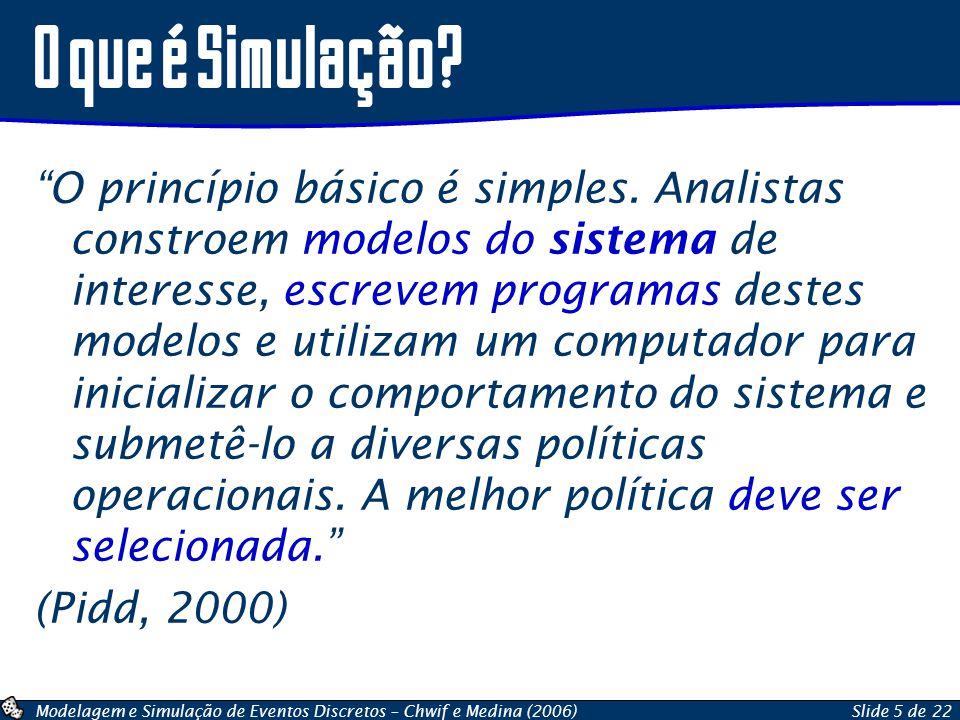Modelagem e Simulação de Eventos Discretos – Chwif e Medina (2006)Slide 5 de 22 O princípio básico é simples. Analistas constroem modelos do sistema d