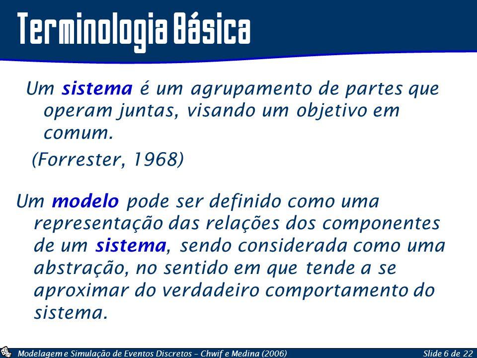Modelagem e Simulação de Eventos Discretos – Chwif e Medina (2006)Slide 6 de 22 Terminologia Básica Um sistema é um agrupamento de partes que operam j