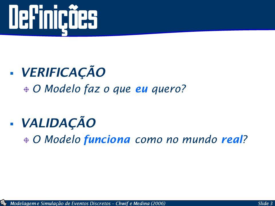 Modelagem e Simulação de Eventos Discretos – Chwif e Medina (2006)Slide 3 Definições VERIFICAÇÃO O Modelo faz o que eu quero? VALIDAÇÃO O Modelo funci