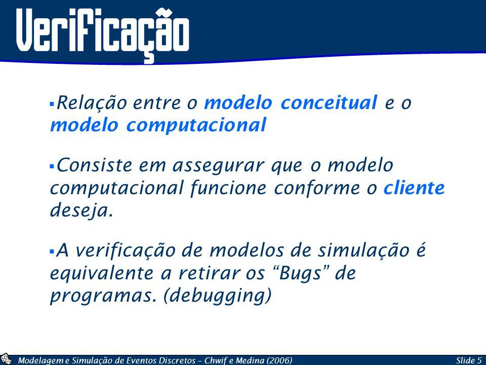 Modelagem e Simulação de Eventos Discretos – Chwif e Medina (2006)Slide 6 Técnicas de Verificação Implementação Modular / Verificação Modular Valores constantes/simplificados + cálculos manuais Utilização do Debugger (Trace) Simulação Manual Animação Gráfica Revisão em grupo