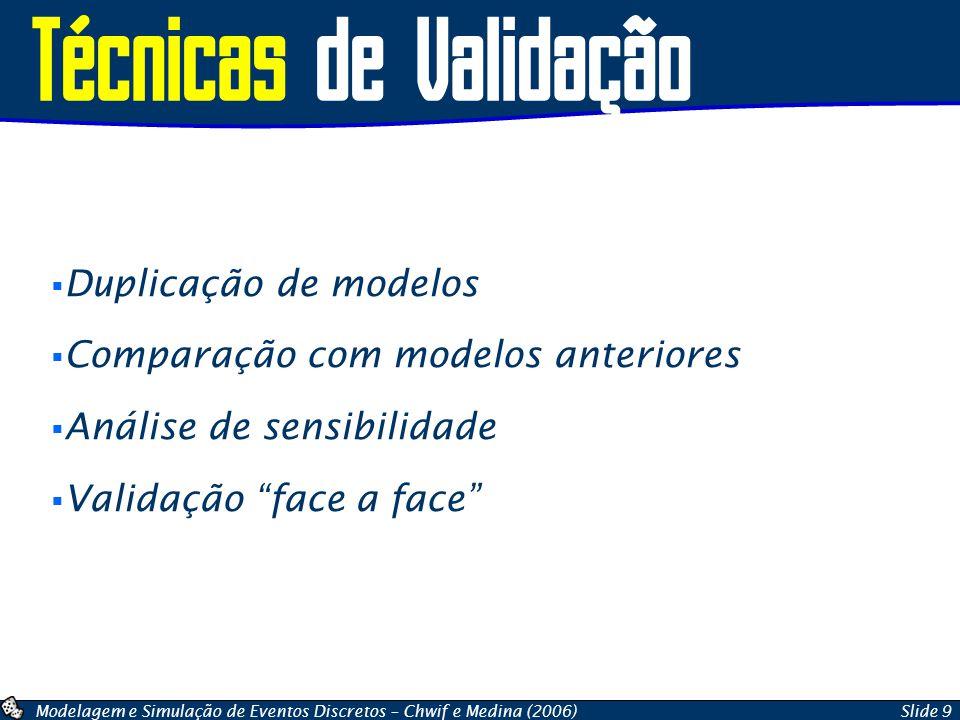Modelagem e Simulação de Eventos Discretos – Chwif e Medina (2006)Slide 9 Técnicas de Validação Duplicação de modelos Comparação com modelos anteriores Análise de sensibilidade Validação face a face