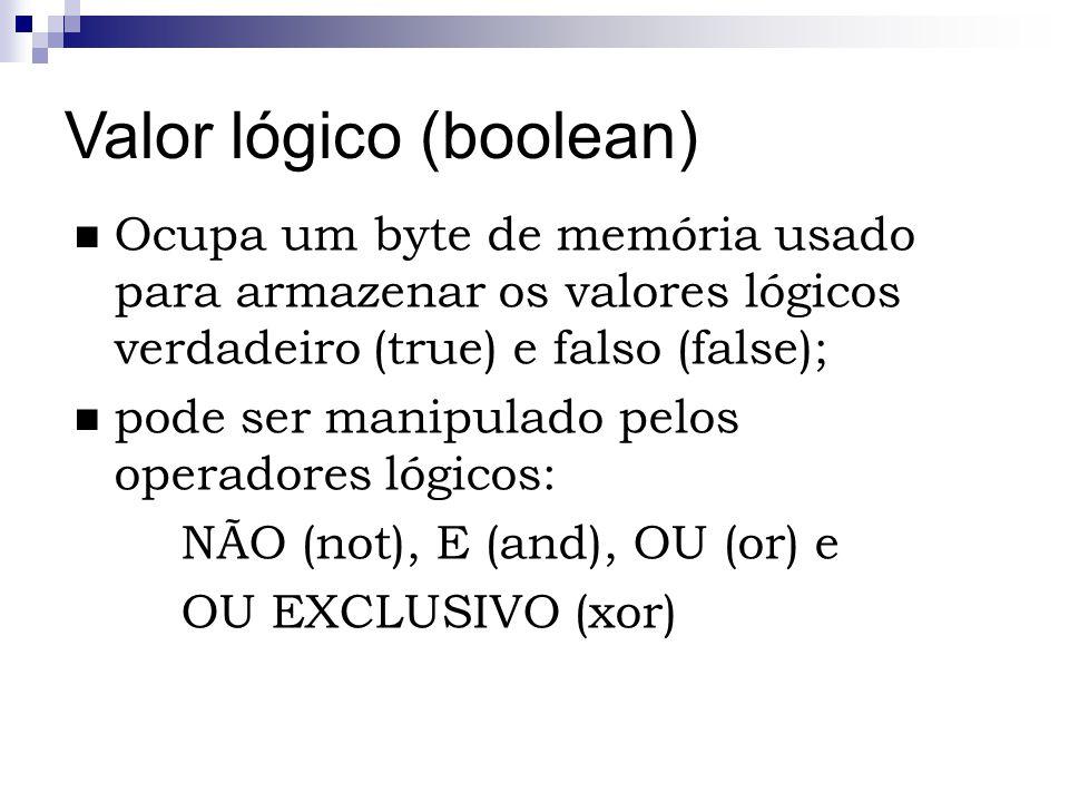 Valor lógico (boolean) Ocupa um byte de memória usado para armazenar os valores lógicos verdadeiro (true) e falso (false); pode ser manipulado pelos o