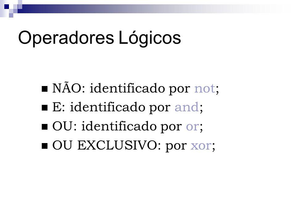 Operadores Lógicos NÃO: identificado por not; E: identificado por and; OU: identificado por or; OU EXCLUSIVO: por xor;