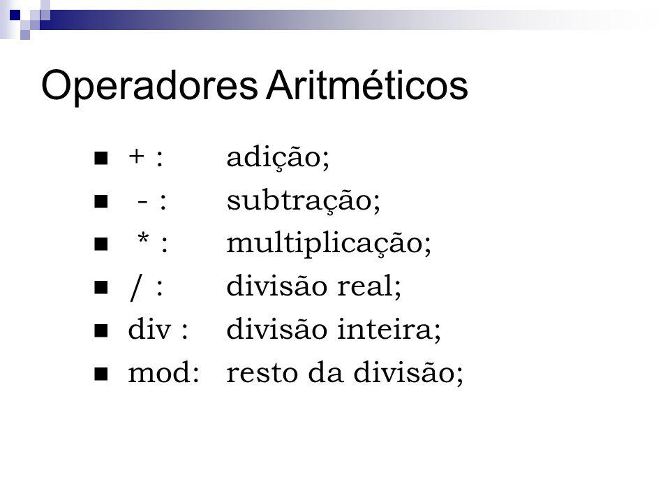 Operadores Aritméticos + : adição; - : subtração; * :multiplicação; / :divisão real; div :divisão inteira; mod:resto da divisão;