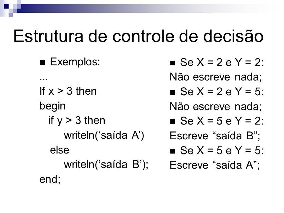 Exemplos:... If x > 3 then begin if y > 3 then writeln(saída A) else writeln(saída B); end; Se X = 2 e Y = 2: Não escreve nada; Se X = 2 e Y = 5: Não