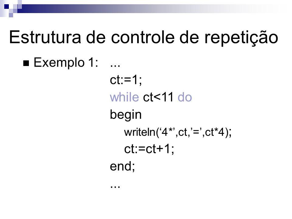 Exemplo 1:... ct:=1; while ct<11 do begin writeln(4*,ct,=,ct*4) ; ct:=ct+1; end;... Estrutura de controle de repetição