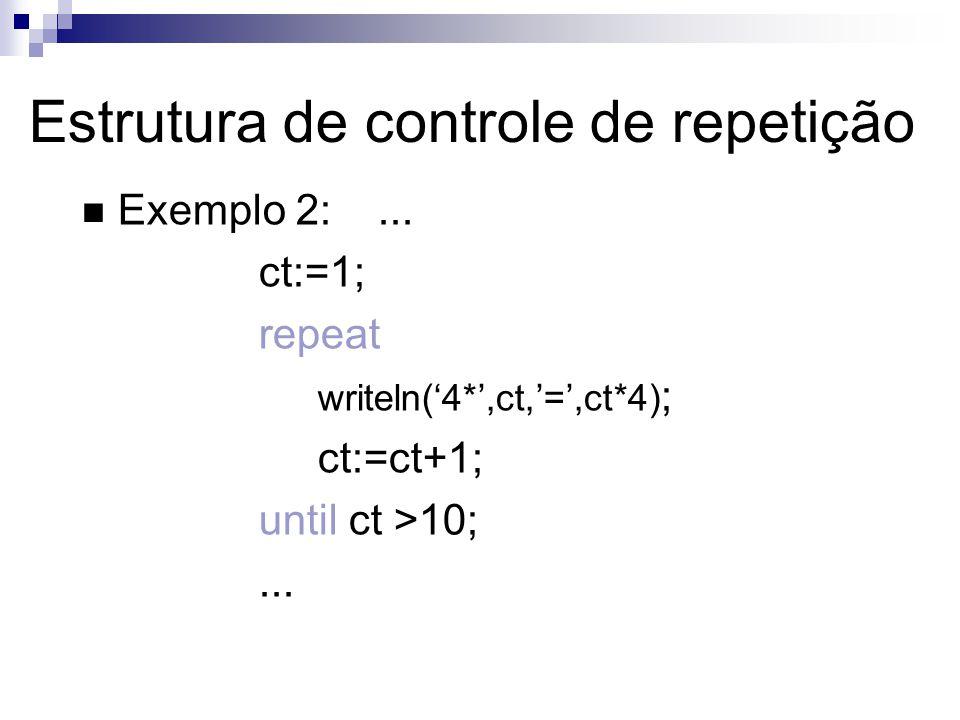 Exemplo 2:... ct:=1; repeat writeln(4*,ct,=,ct*4) ; ct:=ct+1; until ct >10;... Estrutura de controle de repetição
