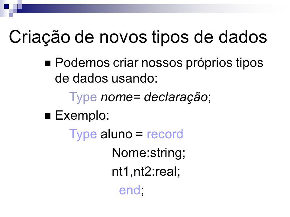 Criação de novos tipos de dados Podemos criar nossos próprios tipos de dados usando: Type nome= declaração; Exemplo: Type aluno = record Nome:string;