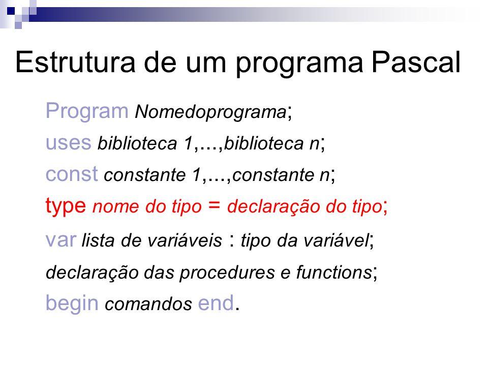 Estrutura de um programa Pascal Program Nomedoprograma ; uses biblioteca 1,..., biblioteca n ; const constante 1,..., constante n ; type nome do tipo