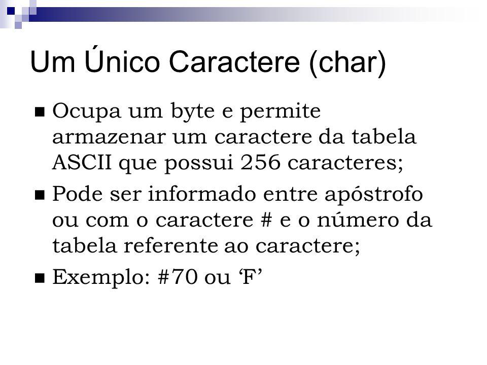 Um Único Caractere (char) Ocupa um byte e permite armazenar um caractere da tabela ASCII que possui 256 caracteres; Pode ser informado entre apóstrofo