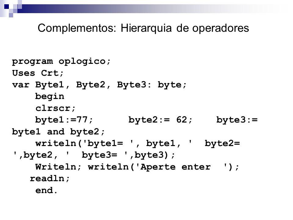 Complementos: Hierarquia de operadores program oplogico; Uses Crt; var Byte1, Byte2, Byte3: byte; begin clrscr; byte1:=77; byte2:= 62; byte3:= byte1 a