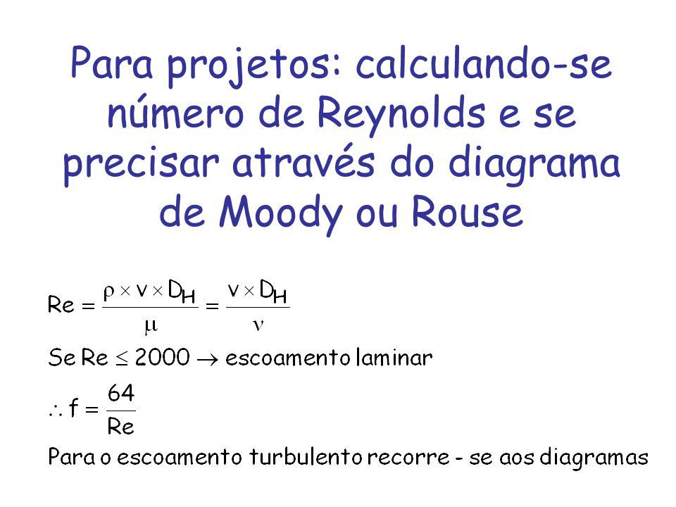 Para projetos: calculando-se número de Reynolds e se precisar através do diagrama de Moody ou Rouse
