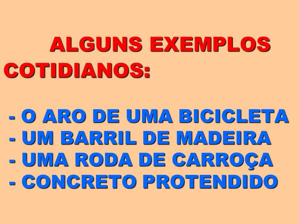 ALGUNS EXEMPLOS COTIDIANOS: - O ARO DE UMA BICICLETA - UM BARRIL DE MADEIRA - UMA RODA DE CARROÇA - CONCRETO PROTENDIDO ALGUNS EXEMPLOS COTIDIANOS: -
