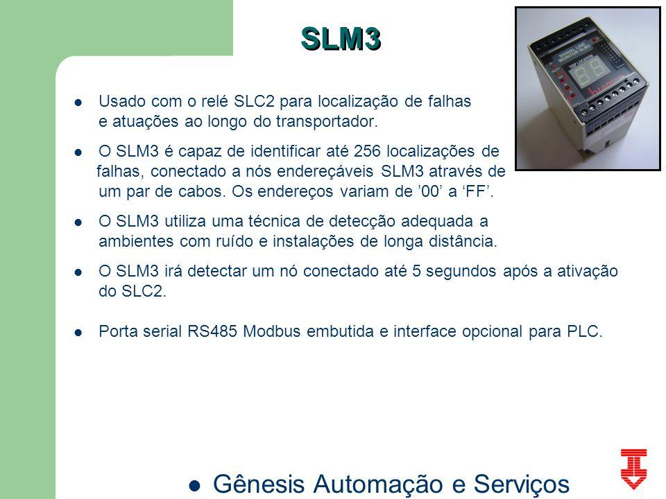 Gênesis Automação e Serviços SLM3 Usado com o relé SLC2 para localização de falhas e atuações ao longo do transportador. O SLM3 é capaz de identificar