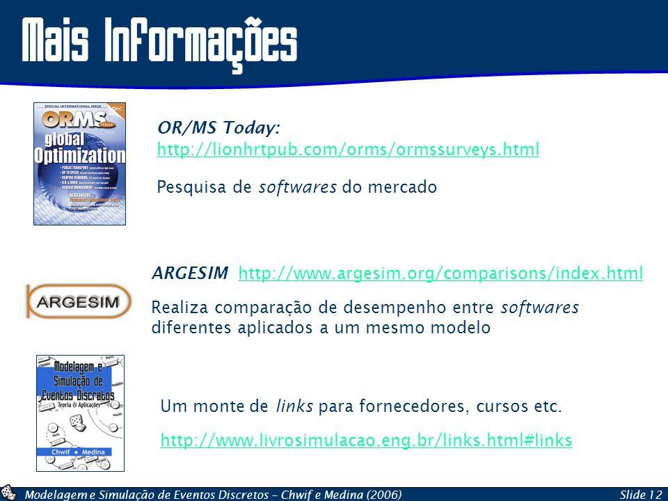 Modelagem e Simulação de Eventos Discretos – Chwif e Medina (2006)Slide 12 Mais Informações OR/MS Today: http://lionhrtpub.com/orms/ormssurveys.html http://lionhrtpub.com/orms/ormssurveys.html Pesquisa de softwares do mercado ARGESIM http://www.argesim.org/comparisons/index.htmlhttp://www.argesim.org/comparisons/index.html Realiza comparação de desempenho entre softwares diferentes aplicados a um mesmo modelo Um monte de links para fornecedores, cursos etc.