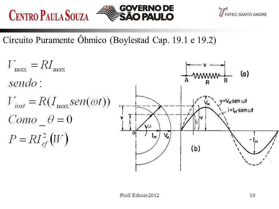Prof. Edson-201210 Circuito Puramente Ôhmico (Boylestad Cap. 19.1 e 19.2)