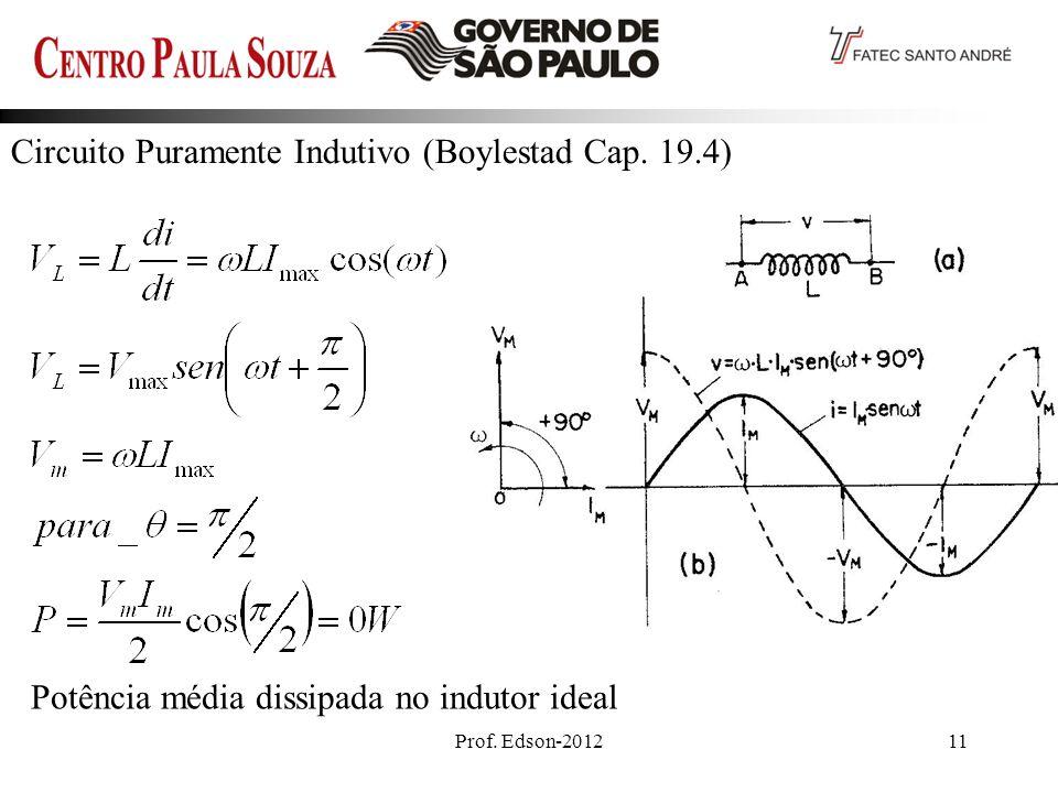 Prof. Edson-201211 Circuito Puramente Indutivo (Boylestad Cap. 19.4) Potência média dissipada no indutor ideal