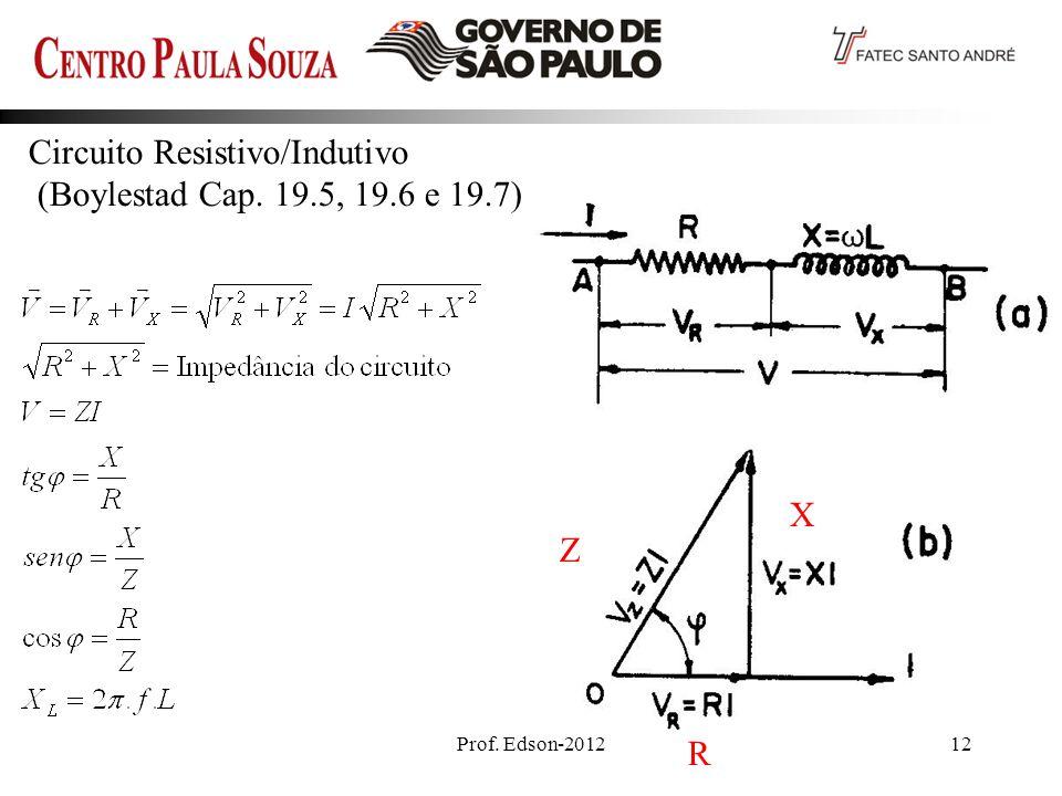 Prof. Edson-201212 Circuito Resistivo/Indutivo (Boylestad Cap. 19.5, 19.6 e 19.7) Z R X