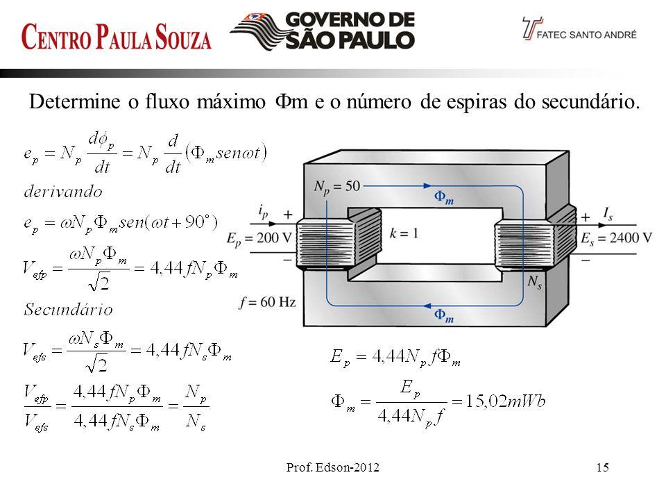 Prof. Edson-201215 Determine o fluxo máximo m e o número de espiras do secundário.