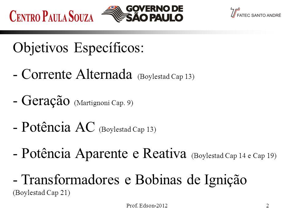 Prof. Edson-20122 Objetivos Específicos: - Corrente Alternada (Boylestad Cap 13) - Geração (Martignoni Cap. 9) - Potência AC (Boylestad Cap 13) - Potê