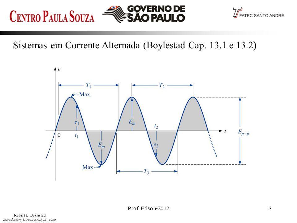 Prof. Edson-20123 Sistemas em Corrente Alternada (Boylestad Cap. 13.1 e 13.2) Robert L. Boylestad Introductory Circuit Analysis, 10ed.