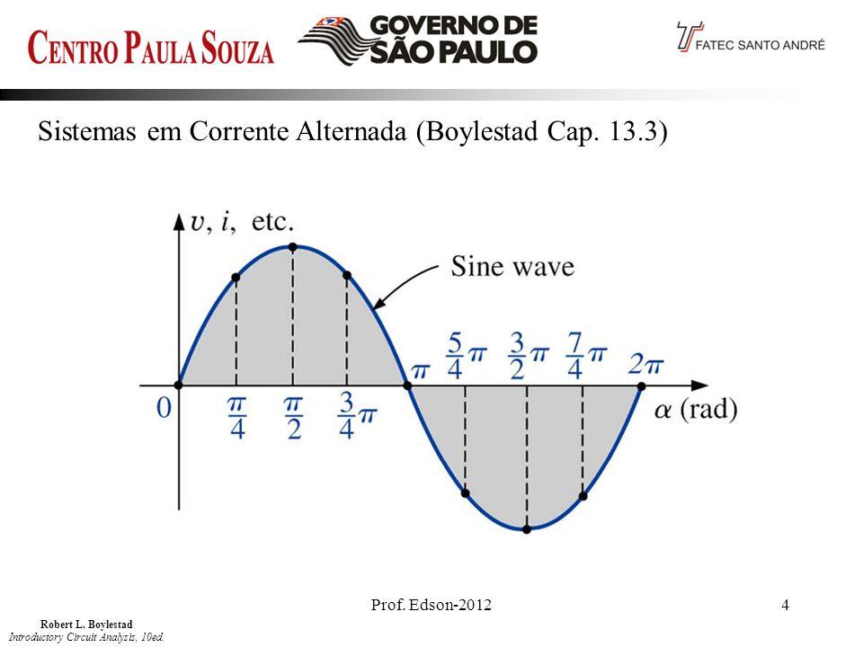 Prof. Edson-20124 Sistemas em Corrente Alternada (Boylestad Cap. 13.3) Robert L. Boylestad Introductory Circuit Analysis, 10ed.