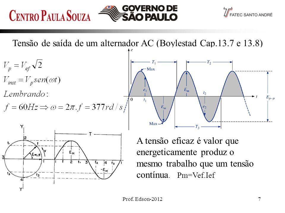 Prof. Edson-20127 Tensão de saída de um alternador AC (Boylestad Cap.13.7 e 13.8)_ A tensão eficaz é valor que energeticamente produz o mesmo trabalho